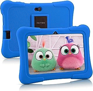 Tablet per bambini Pritom 7 pollici, Quad Core, Android 10,16GB di ROM, WiFi, Istruzione, giochi, software per bambini pre...