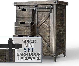 Hahaemall Heavy Duty Metal Steel Black Super Mini Sliding Barn Door Hardware Track Roller Kit Hanging TV Stand Cabinet Sys...