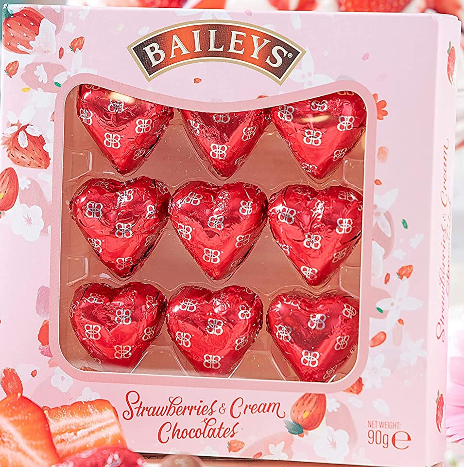 Baileys Strawberry and Cream Hearts 90g Gift Box. Perfect for I Love You, With Love, Birthdays, Anniversaries, Date Nights and All Special Occasions