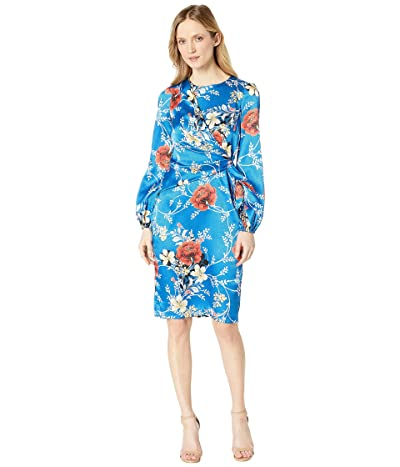 Maggy London Multi Floral Novelty Cross Over Wrap Dress (Blue/Red) Women
