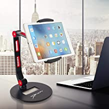 Tablet Stand Adjustable 360° Swivel Folding Aluminium Phone Tablet Holder, Compatible with 4.7 to 13 Inches Devices iPhone, iPad, Kindle, Galaxy, Nintendo Switch (Red)