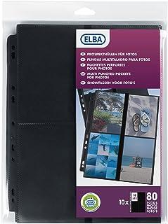 Elba 100207023 Pack de 10 Pochettes perforées en polypropylène résistant 90 microns A4 Incolore avec Bande de renfort Noir