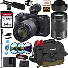 Canon EOS M6 Mark II Mirrorless Digital Camera with 18-150mm Lens and EVF-DC2 Viewfinder (Black) + Prime Accessory Bundle with 64GB Memory, Canon Case & More