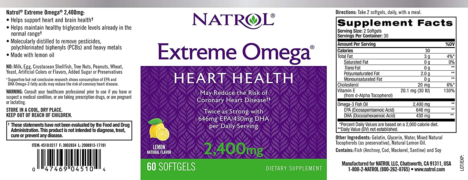 Natrol Omega-3 Extreme, 60-Count