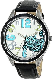 Alice in Wonderland Women's AL1002B Cheshire Cat Watch with Black Strap