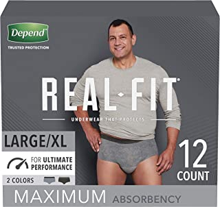 Depend Real Fit Incontinence Underwear for Men with Maximum Absorbency, Large/X-Large, 12 Count