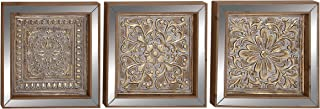 Benzara Antique Colonial Traditional Metal Mirror Wall Plaque Set of 3, Gold and Bronze
