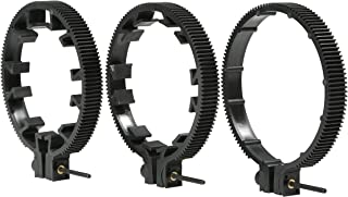 Movo FR3 Adjustable 3-Piece Follow Focus Ring Gear Set - Includes 65mm, 75mm and 85mm Lens Rings (Standard 32 Pitch - 0.8 mod)