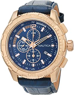 Nautica Men's Blue Dial Leather Band Watch - Nad20512G, Analog Display, Quartz Movement