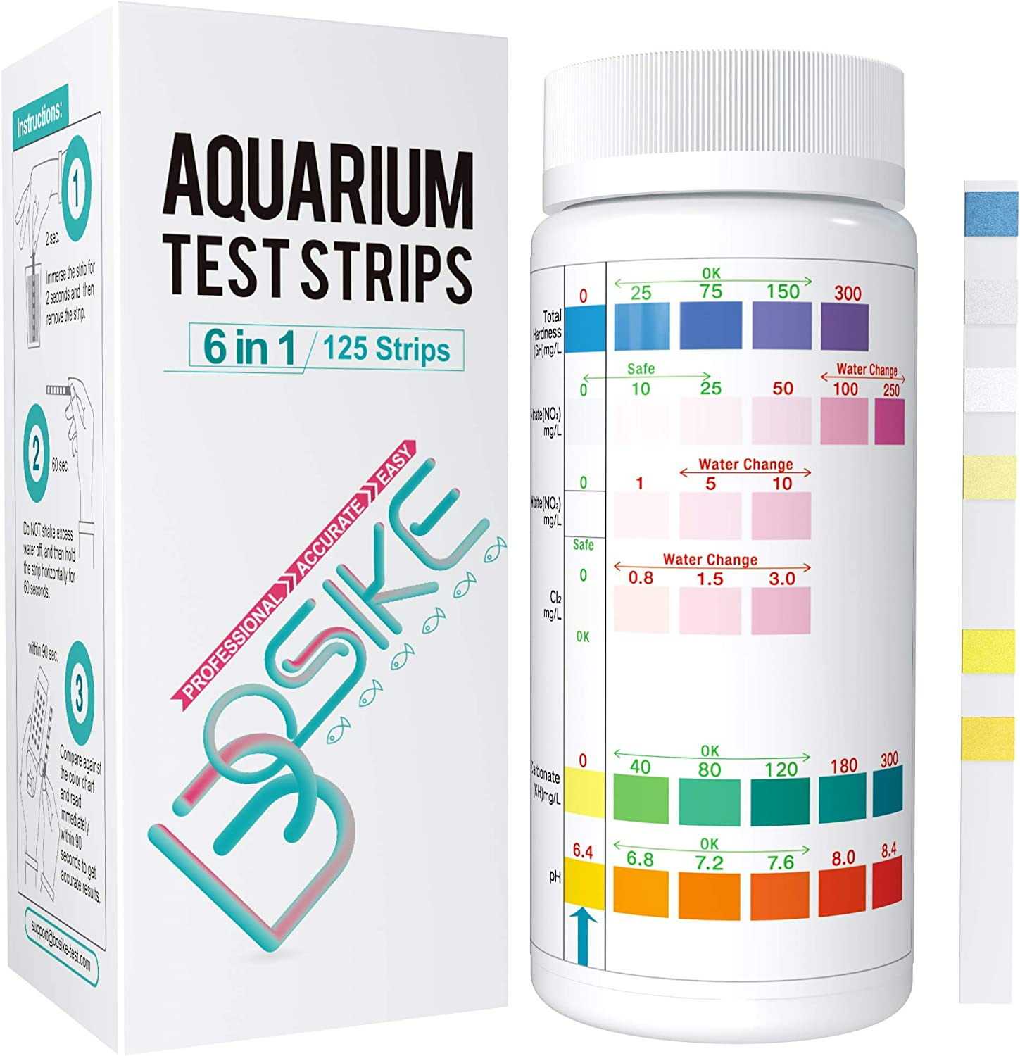 BOSIKE Aquarium Test Strips 6 in 1,Water Test Kit for Freshwater, Fish Tank, Fish Pond,Accurate Total Hardness, Nitrate, Nitrite, Cl2, Carbonate and pH Testing :Ammonia Test Strips