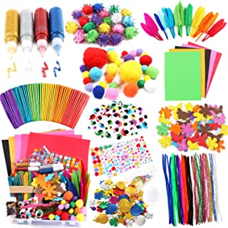 Arts and Crafts Supplies for Kids Craft Art Supply Kit for Toddlers Age 4 5 6 7 8 9 All in One DIY Pipe Cleaners Crafting ...
