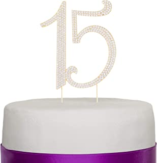 Ella Celebration 15 Cake Topper Gold Quinceañera 15th Birthday Crystal Rhinestone Metal Party Supplies Decoration (Gold)