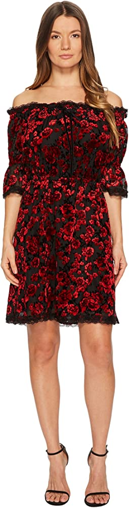 The Kooples - Short Devore Silk Dress with Flowers