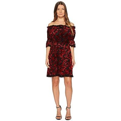 The Kooples Short Devore Silk Dress with Flowers (Red) Women
