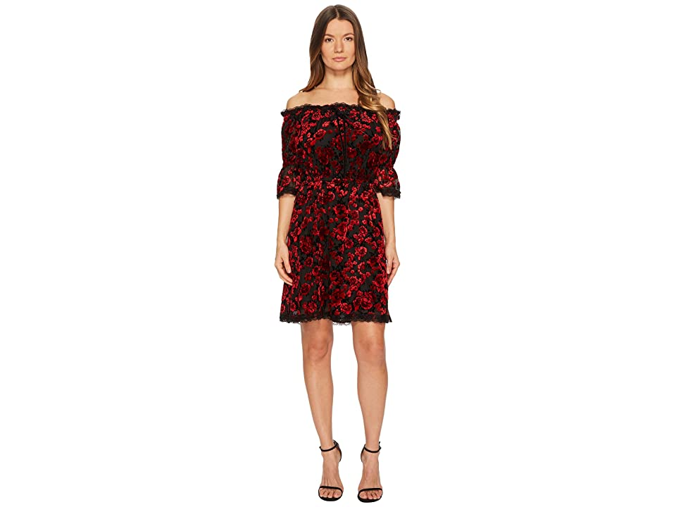 The Kooples Short Devore Silk Dress with Flowers (Red) Women
