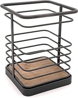 Modern Grey Metal Kitchen Cookware Cutlery Utensil Holder, Decorative Flatware Caddy Storage Organizer