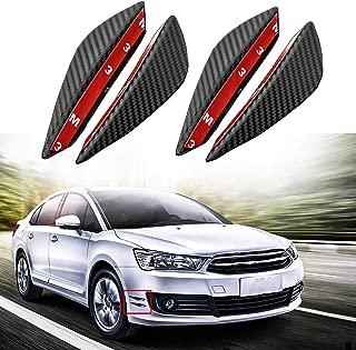 Xotic Tech Car Bumper Protector - 4pcs Matte Black Carbon Fiber Pattern Front Bumper Lip Fins Canards Splitters Body Diffuser Universal Fit