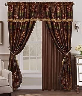 Chezmoi Collection Amelia 4-Piece Floral Jacquard Patchwork Curtain/Drape Set Sheer Backing, Tassels, Valance