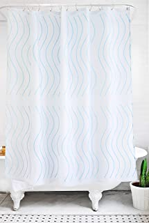Bathage Modern Wave Pattern Fabric Shower Curtain - Exclusive Water-Repellent Fabric - No Liner Necessary - Clean Design for The Modern Bath - Light Cerulean Blue