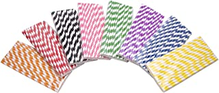 Snowkingdom Biodegradable Paper Straws 200 Striped Rainbow 8 Different Colors for Party supply Birthday Wedding Bridal Baby Shower Decorations Holiday Celebrations - Boxed 8 Individual Packs