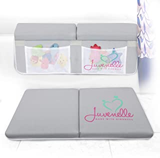 Juvenelle Bath Kneeler and Elbow Rest - Knee Cushioned Kneeling Mat & Arm Support Pad Bathtub Set - Non Slip Bathtime Accessories w/ 4 Double-Stitched Pockets for Shampoo, Soap & Toy Storage (Gray)