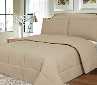 Sweet Home Collection Down Alternative Polyester Comforter Box Stitch Microfiber Bedding - Queen, Beige