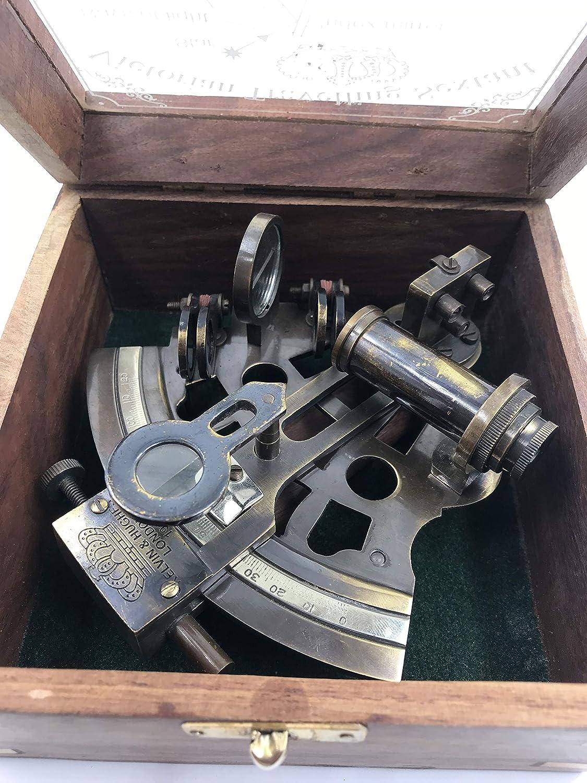 Hermoso sextante de navegación alemán de trabajo de latón hecho a mano con caja de madera | Sextante de latón original | Instrumento de barco | Modelo de Astrolabe