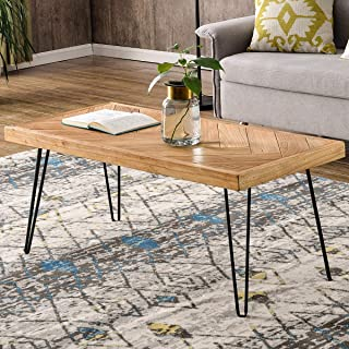P PURLOVE Modern Wood Coffee Table, Easy Assembly Center Table Nature Cocktail Table for Living Room w/Chevron Pattern & Metal Hairpin Legs, Nature Rustic Rectangular Table …