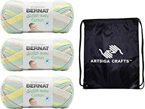 Bernat Knitting Yarn Softee Baby Cotton Sunny Sidewalk Variegated 3-Skein Factory Pack (Same Dyelot) 166052-52016 Bundle w...