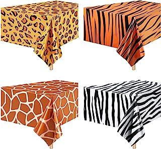 4 Pieces Zoo Print Table Covers Jungle Animal Theme Tablecloth Animal Theme Table Covers Leopard Tiger Zebra Giraffe Print...