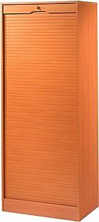 SIMMOB MATHA Grand Classeur à Rideau Hauteur 172 cm - Coloris - Merisier, Bois, 44x70,1x172,4 cm