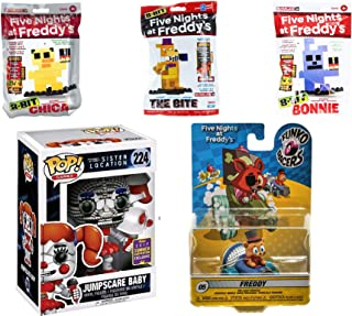 Funko Party Scare Figure FNAF Five Nights at Freddy's Sister Location #224 Jumpscare Baby + Bundled Racers Freddy car & Character Mini 8-Bit Figure Pack 5 Items