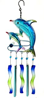 Bejeweled Display® Two Dolphins w/ Stained Glass Wind Chimes Tubes