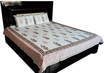 Vinay Craft's 100% Cotton Floral HandBlock Printed Double Bedsheet-VCHB15