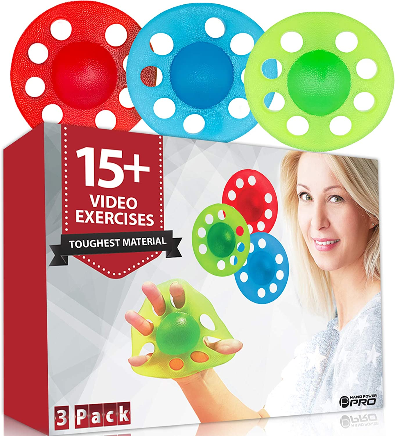Pykal 3x Hand and Finger Strengtheners - 15+ VIDEO EXERCISES included with HAND POWER PRO | Finger Exerciser Hand Grip Strengthener For Seniors, Arthritis, Carpal Tunnel, Computer Users, Rock Climbers: Sports & Outdoors