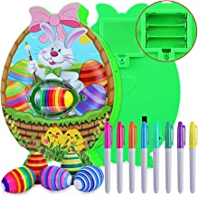 Easter Egg Decorations Kit Egg Painting Dyeing Coloring Machine Toy with Light and Music DIY Eggs Spin Art Machine with 8 ...