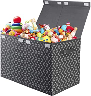 Toy Chest Storage Box with Flip-Top Lid,Foldable Kids Toys Bin Basket Organizer for Nursery,Playroom,Closet,Pantry and Off...