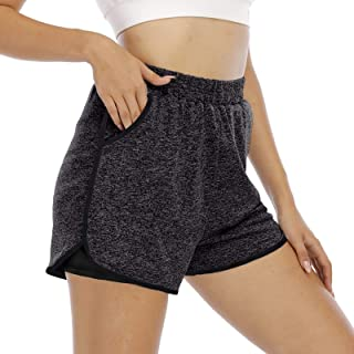 Cucuchy Womens Workout Yoga Running Shorts Fitness 2 in 1 Pants with Pockets