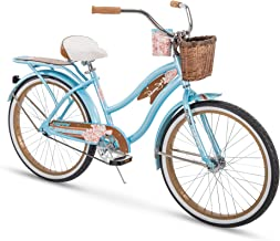 Huffy Bicycle Company Panama Jack Beach Cruiser Bike 24 inch Single Speed, Lightweight, Sky Blue