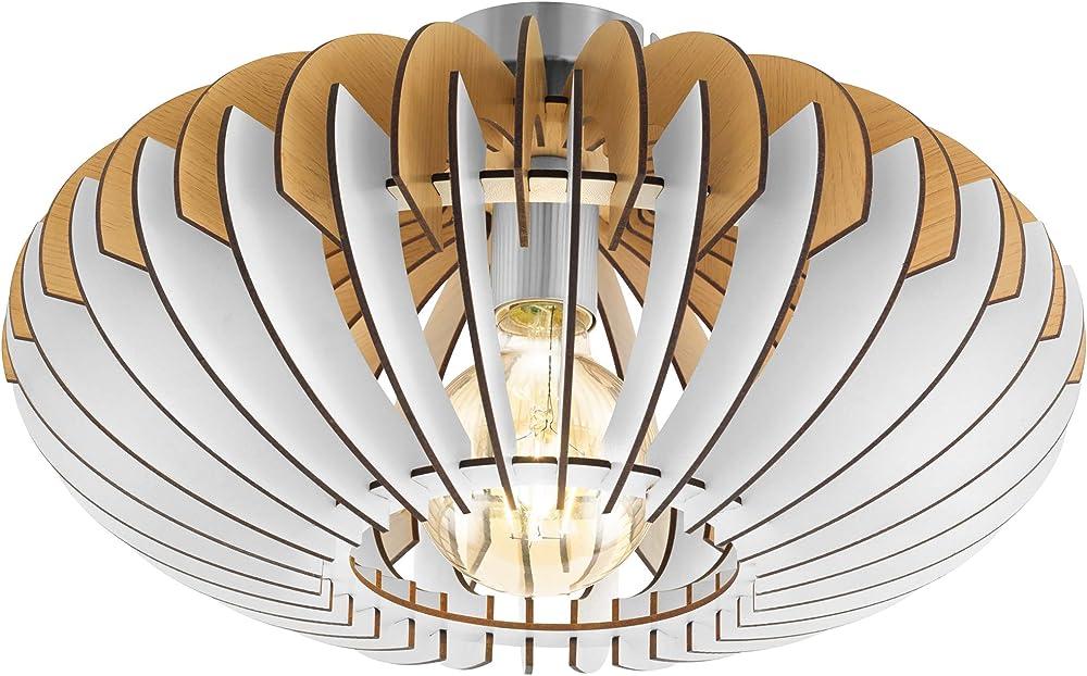 Eglo sotos , lampada da soffitto in legno  e acciaio 96961