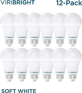 Viribright LED Non-Dimmable A19 Energy Efficient Light Bulb, 8.5W Soft White 2700K, 60W Equivalent A19 LED Bulb, 800 Lumens, E26 Base, 12-Pack