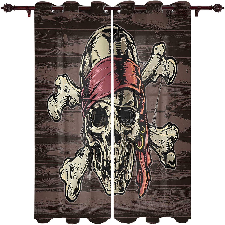 Pirate Skull on Vintage Wood Board Window Pane 激安通販ショッピング テレビで話題 Curtain 2 Printed