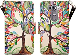 LG V10 Case (TMOBILE/VERIZON/AT&T), Deluxe Pu Leather Folio Wallet Flip Case Cover With Kickstand and Detachable Wrist Strap For LG V10 Wallet - Colorful Tree