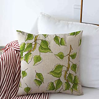 Throw Pillows Cover 16 x 16 Inches Green Leaf White Bud Seasonal Birch Leaves Botany Branches Nature Alba Greenery Sapling Betula Branch Cushion Case Cotton Linen for Fall Home Decor