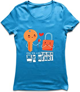 lepni.me Women's T-Shirt Only You Can Unlock My Heart Awesome Love Slogan