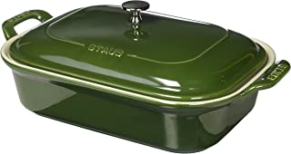 STAUB Ceramics Rectangular Covered Baking Dish, 12x8-inch, Basil