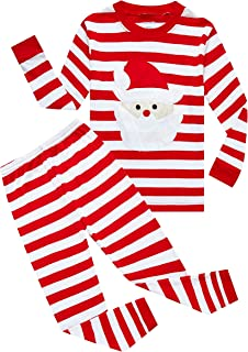 Family Feeling Striped Boys Girls 2 Piece Christmas Pajamas Set 100% Cotton Pjs