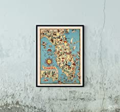 Map|Florida. 1935|Historic Antique Vintage Reprint|Size: 18x24|Ready to Frame