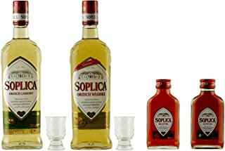 AKTION: 1x Soplica Haselnuss  1x Soplica Walnuss  2x Free Shot Glas  1x Soplica Himbeere klein  1x Soplica Pflaume klein | Probierset | 2x 0,5 Liter | 2x 0,1 Liter