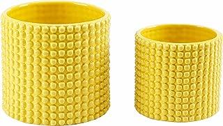 Set of 2 Hobnail Textured Ceramic Flower Pots, Vintage Style Succulent Planters, Yellow